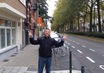 Ethos College Sr. Recruiting Director, Mark Lincir, on the streets of Brussels.