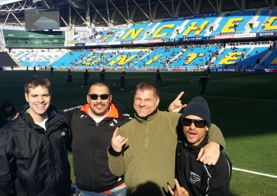 Ethos College President, Chris Campasano, and Sr. Director of Recruiting, Mark Lincir, attending a Incheon United match with Ethos Scout, Kely Jacobson, and David Snipes, from Chadwick International School in Songdo.